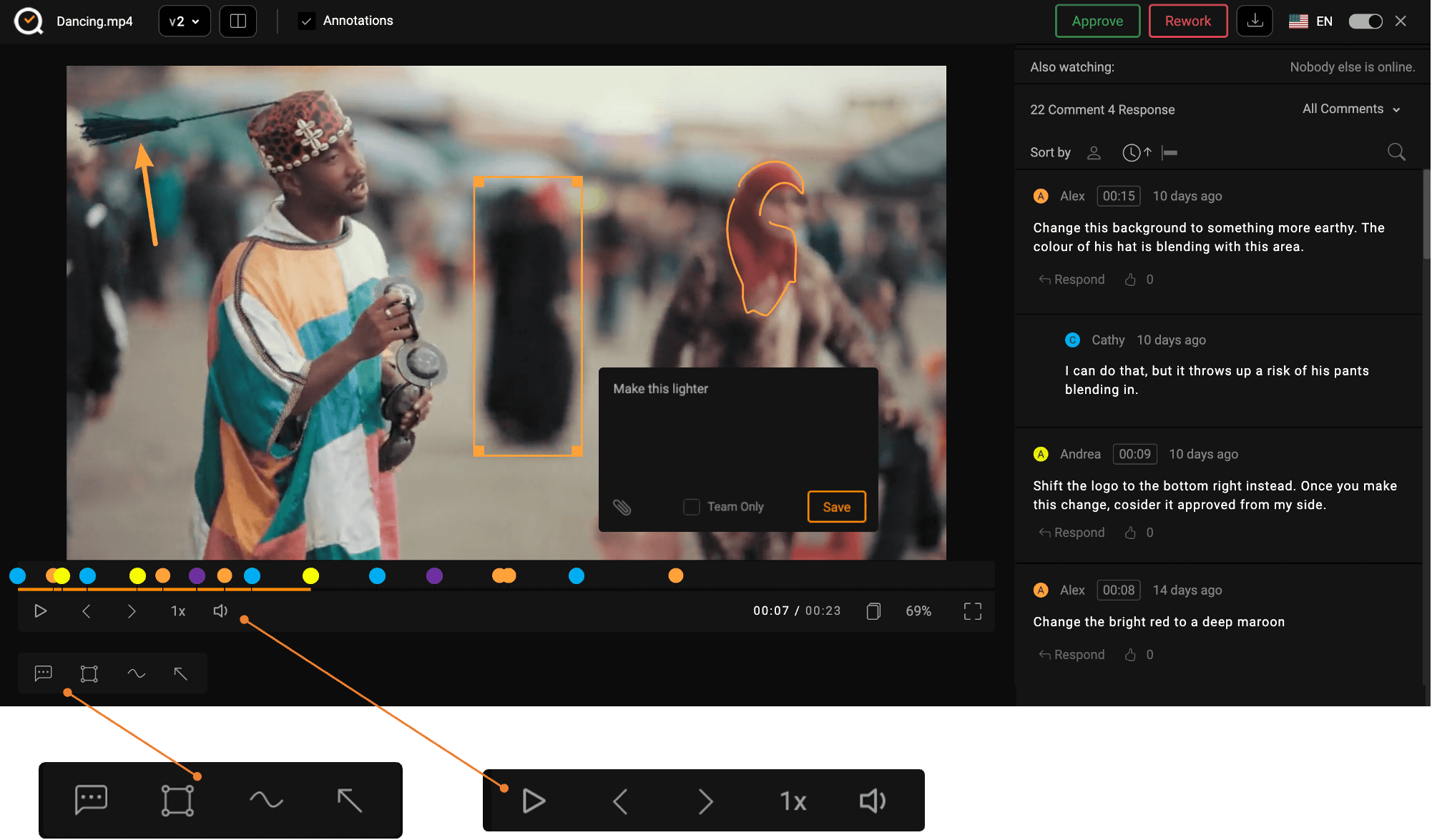 The review window lets you add comments and highlight text